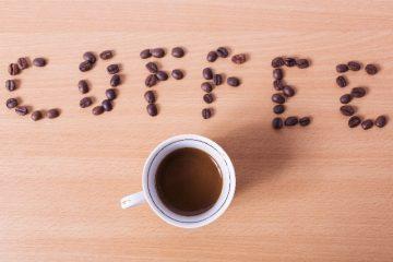 コーヒー豆で描かれたメッセージ